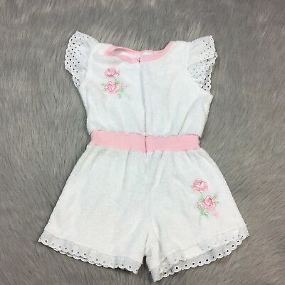 Vintage Toddler Girls Christian Dior Jeunes White Pink Terry Cloth Romper