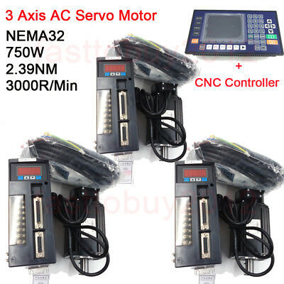 3Axis NEMA32 750W 2.39NM AC Servo Motor KIt 3000RPM+CNC Controller for Milling