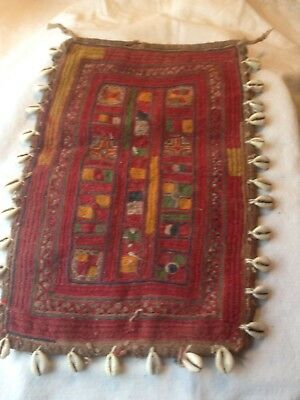 ANTIQUE/VINTAGE INDIAN EMBROIDERY from GUJARAT WITH SHELLS approx A4