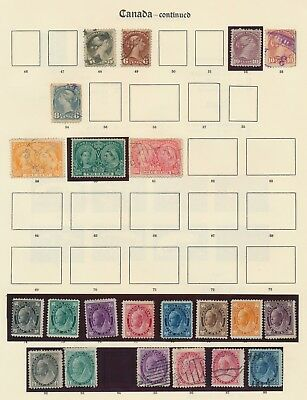 CANADA STAMPS 1873-1911 TWO PAGES, INC 10c LARGE HEADS SHADES, MINT JUBILEE SET