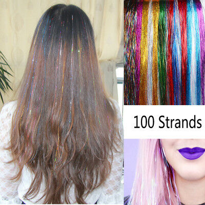 Streak Clubbing Hair Tinsel  Bling Silk Glitter Rainbow  Color Hair Extension