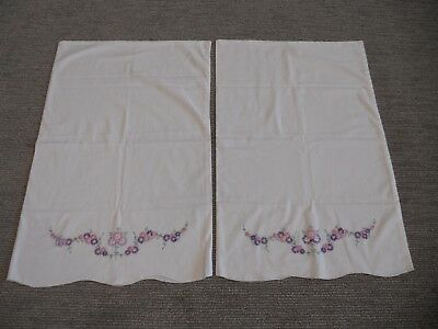 LOT of 2 Vintage Handmade Embroidered Pillowcases Floral