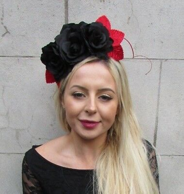 Black Red Rose Flower Feather Fascinator Headpiece Headband Floral Races 6831