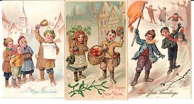 Lot: 3 Vintage New Year/christmas Postcards Happy Children Snow Apples Bell Flag