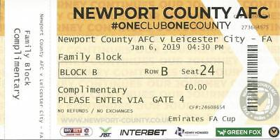 NEWPORT COUNTY AFC v LEICESTER CITY  2018/19   FA Cup      MATCH TICKET