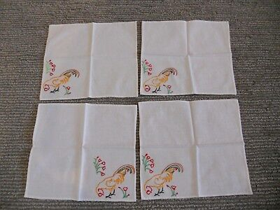 LOT of 4 Vintage Embroidered Cloth Fingertip Cocktail Napkins Rooster