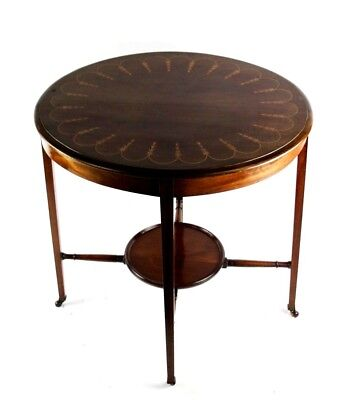 Antique Edwardian Marquetry Inlaid Adam Style Mahogany Occasional Table [P4813]