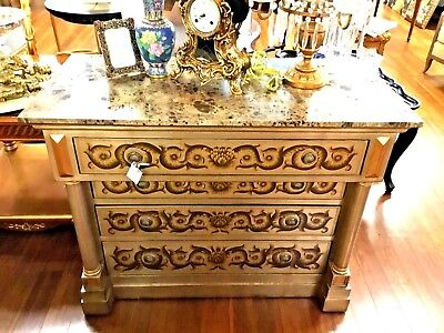 European Style hand Painted and Silver leaf Chest Of Drawers