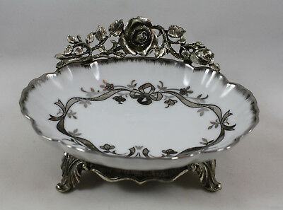 Vintage Matson Ornate Silver Tone Roses Soap Dish Porcelain, Footed