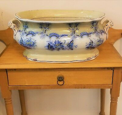 "Rare 21"" Antique Victorian Ironstone Flow Blue Footbath Floral Gold Burgundy"