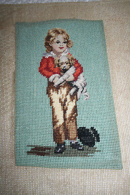 Gorgeous Early Vintage Petti Point & Woolwork Picture Boy With Puppy.