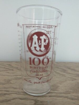 Vintage 1859 - 1959 100th Birthday A&P Grocery Store Measuring Glass Cup