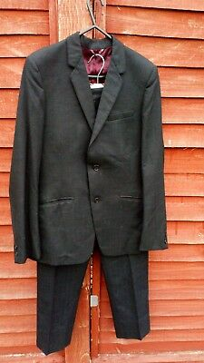 Boys vintage suit, black with blue fleck, brown check