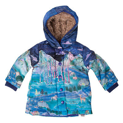 OILILY Jacket Size 12M / 74 CM Sherpa Inside Printed Double Cuffs Hooded RRP€230