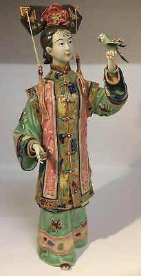 Fine Quality Vintage Chinese PROC Porcelain Figure Of A Court Lady Red Seal Mark