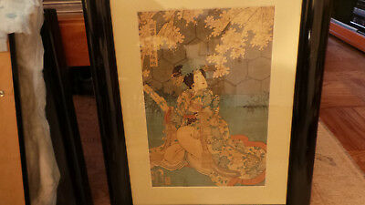 Antique Framed & Matted Japanese Woodblock Print of Woman, Scroll & Tree VG+