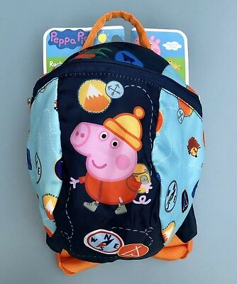 Peppa Pig George Backpack Rucksack with Reins bag BNWT Blue toddler Gift Present