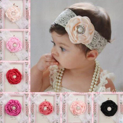 Baby Kids Girls Newborn Lace Infant Headband Flower Hairband One Piece New