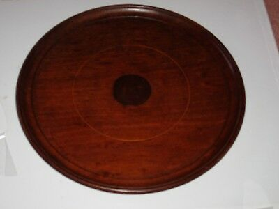 Vintage Round Wooden Tray - Rounded Edge & Contrast Centre