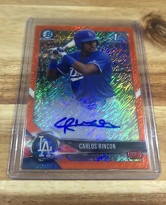 2018 Bowman Chrome CARLOS RINCON AUTO ORANGE SHIMMER 07/25 Dodgers Rookie RC #