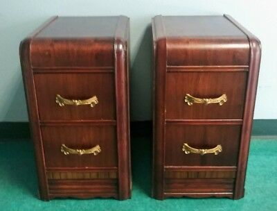 Pair Antique Art Deco 1930's-40's Two Drawer Waterfall Nightstands End Tables