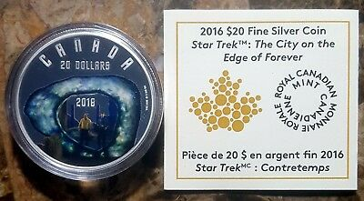 Canada 2016 Star Trek City on the Edge of Forever Silver Coin & COA!!