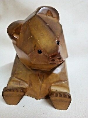 Bear Wooden Carving Statue Figurine Japan Home Decor Handmade Art Collectible