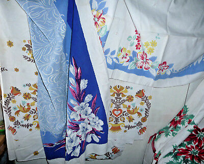 Vintage Tablecloth Lot of 4 Crafting Curtain 1950 Floral Retro Minor Stain Holes
