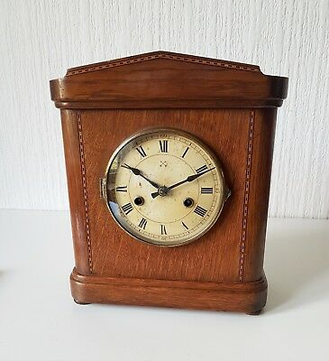 Vintage Hamburg American Corporation 20Th Century Wooden Mantle Clock