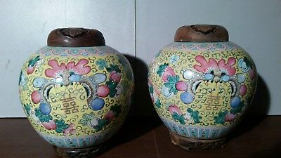 Pair Of 2 Large Antique Ginger Jar Handmade  WIth Wood Lid and Base 8X10""