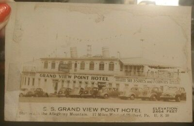 "S.S. Grand View Point Hotel, U.S. 30, Bedford PA OLD "" Distressed"" RPPC Postcard"