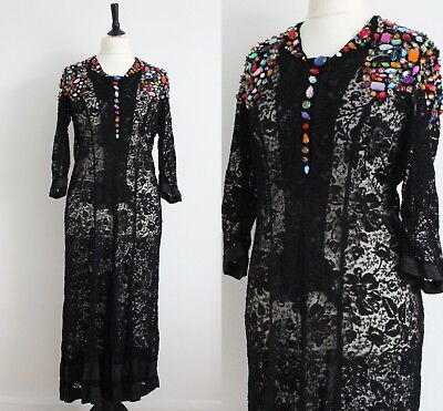 f256d1536a Vintage 1980s Jewelled Black Lace Dress Rare Mesh Evening Sheer Long Dress  14