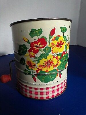Vintage RED CHECKERED FLOUR SIFTER Metal 1950's Flowers Litho Kitchen