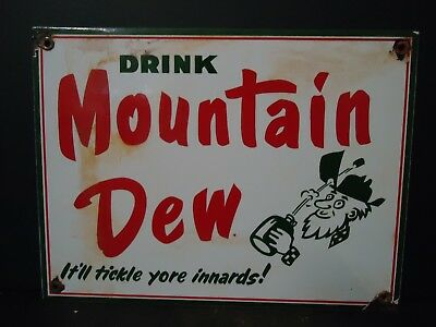 Old Used 1960's Mountain Dew Porcelain Sign (No Reserve)