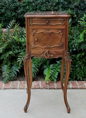 Antique French Country Rococo Marble Top Side Cabinet End Table Nightstand