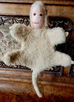 """Collectable True Vintage Mohair Monkey Hand Puppet 10"""" long, 15"""" inc tail"""