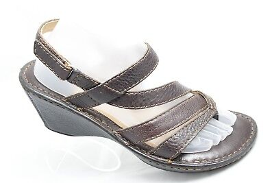 4b8c18110ca7 Born Womens Size 9M Dark Brown Strappy Leather Wedge Thong Sandals Heels  Shoes