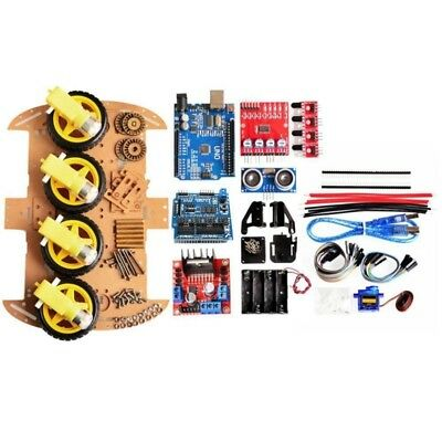 1X(Avoid Tracking Motor Smart Robot Car Chassis Diy Kit 4Wd Ultrasonic For R3R3