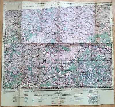 CARTE entoilée WAR OFFICE GB de 1942 Le Mans Etampes Orléans Tours Salbris WW2