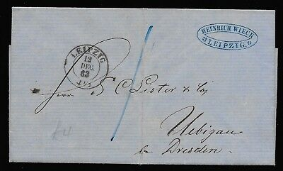 Germany 1863 stampless commercial cover Leipzig to Dresden. Contents. Look!