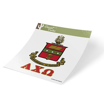 ALPHA CHI OMEGA Crest & Letter 2-Pack Sticker Decal Greek for Laptop Car