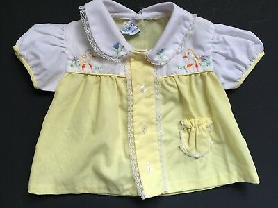 vtg MAYFAIR Yellow Floral Dress or Top w Embroidered Flowers & Ducks  3-6 M