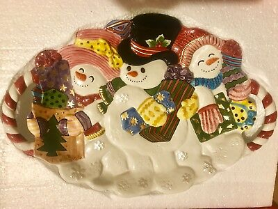 Fitz and Floyd FROSTY FOLKS Large Oval Serving Platter w Handles NEW! in Box