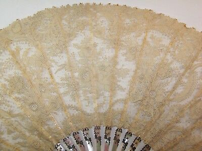 LARGE 19thC mother-of-pearl Brussels hand-made needle lace fan Point de Gaze