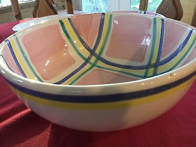 Vintage Caleca Serving Bowl - Pink Plaid Hand Painted Italy 14""