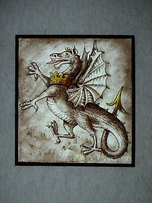 Beautiful Stained glass.DRAGON.Hand painted.Kiln fired.150x165mm.Antique style.