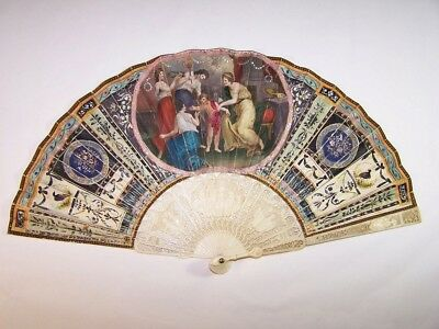 Superb antique 18thC french carved  hand painted fan / attributes of the Art