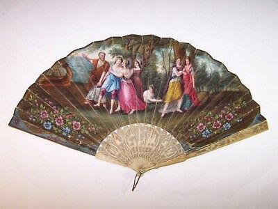 Superb antique 18thC french carved  hand painted mythological scene fan