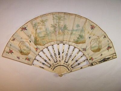 Superb antique 18thC french carved  hand painted fan / time to feed the chicken