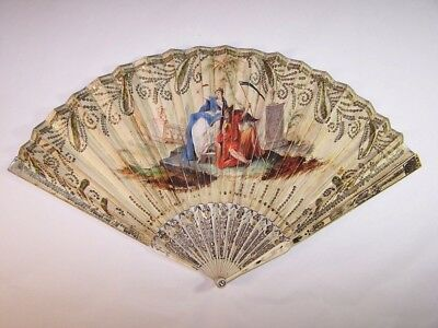 Superb antique 18thC french carved  hand painted fan / allegory of the History